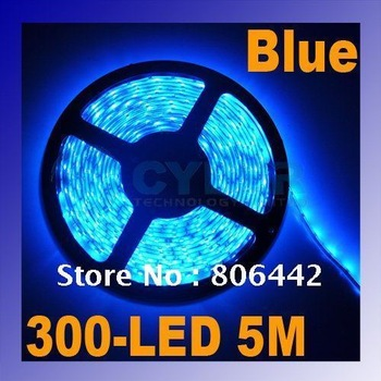 Cheap Waterproof Blue 60LED/meter 300LED SMD 3528 LED Strip Flexible Light Free Shipping Droshippping