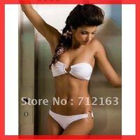 Free Shipping~With pad lined inside!!2012 Hot Women Lady Fashion Sexy White Bikini Swimwear RT3015~(Buy>=2 pcs,Gift t 1sunglass)
