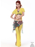 [Free Shipping]2012 Newest #2070 Sexy Practice Belly Dance Floral Button Down Costume 2Pcs Top+Pants,7Colors,Free Size