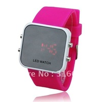 Fashion silicone LED mirror silicone watch.10 color available.high quality.Hot sell  Wholesale