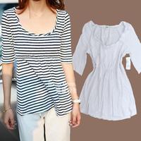 Fashion women's high waist water wash tspj cotton ruffle big o-neck a half sleeve t-shirt plus size available