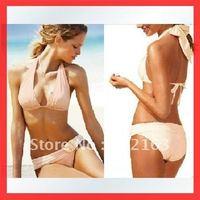 Free Shipping~With Pad ! Lazy Girls Club Sexy Brazilian Bikini  1 Pc Swim Wear Pink w/chains  RT3043 (Buy>=2pcs,Gift 1sunglass