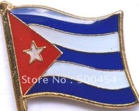 350pcs/lot, free shipping Cuba metal flag lapel pins for badge collection