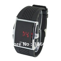 Red LED Men's Digital Electronic LED Watch Square Stainless Steel Back LED watch Free shipping