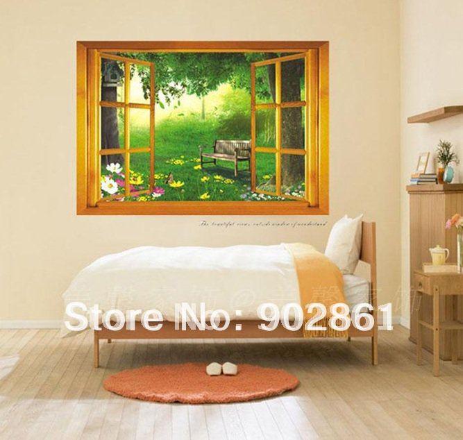 [funlife]- Large 3D Garden nightfall View Window Wall Stickers Art Decals Kids Room