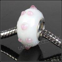 30pcs/lot Wholesale Fashion Bead Nice Colorful New Lampwork Glass Bead Big Hole Beads Fit Charms Bracelet 4.5mm 151757