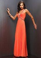 2012 V-neck free shipping custom made floor-length sleeveless beadings elegant evening dress M101