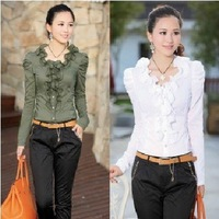 Free shipping fashion lady's elegant long flare sleeve cotton shirts, casual woman leisure shirts drop shipping