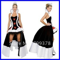 Enchanting Queen of Hearts Costume DHL Free shipping 2012 Women sexy party costume Wholesale 10pcs/lot Adult Fancy dress 8314
