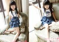 Girl princess dress bubble lotus leaf sleeve fake two piece dress surface freight 4PC