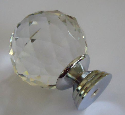 Crystal Glass Clear Cut Door Knobs Pull 40mm Drawer Cabinet Handle(China (Mainland))