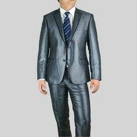 DROPSHIPPING New Men's Premium Mens slim fit 1BTN silver grey dress suit (suit + pants+tie)