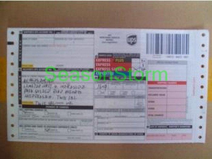 [CPA Free Shipping] Wholesale UPS Standard English Version Shipment Waybill 200pcs/lot (SD-258)(China (Mainland))