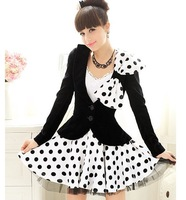 S-XL free shipping new fashion women's Black Slim inlaid lace bow strap half skirt moq 1pc #10856