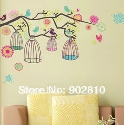 [listed in stock]-Colorful Tree &amp; Bird Cage Decorative 44x66cm Kids room Wall Sticker transparent(China (Mainland))