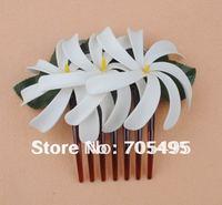 FREE SHIPPING Triple 4'' Artificial Hawaiian Tiare Foam Flower with Hair Comb