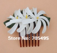 FREE SHIPPING Triple 4'' Artificial Hawaiian Tiare Foam Flower with Hair Comb