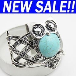 Vintage Natural Sones Owl rhinestones bracelets bangles new fashion turquoise jewellery brt-38(China (Mainland))