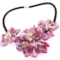 Stunning!Pink Shell Mop Shell Freshwater Pearl Necklace 18'' Black Rope Fashion Flower Lady's Girl Party Jewelry Free Shipping