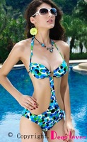 Free shipping + Lowest price New Sexy One-piece Cobalt Blue Halter Bikini Women Swimwear LC40406