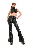 100% handmade latex  flared trousers