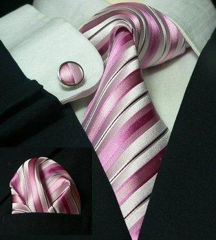 Free shipping pink  neckwear 100% woven silk gentleman neckties+cufflinks+pocket square set LDT031
