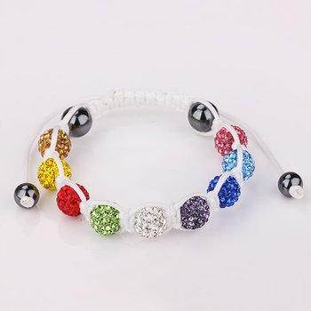 White Strings Handmade Mixed Colorful Crystal Beads Shamballa Inspired Bracelets Paved Created Diamond