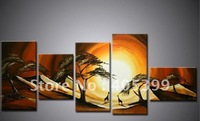 Framed!! Frame oil painting ,5 Panels/set ,Huge  Framed/Stretched Landscape  Painting  JYJLV151