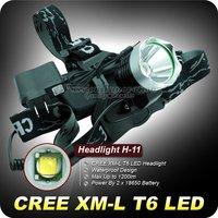 1PC H-11 LED Headlight 3 Mode Light 1200Lm CREE XM-L T6 LED Headlamp 18650 Waterproof Headlamp