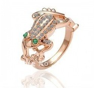 MIN.ORDER $15, simple gold electriplated frog ring  with colorul crystals on,free shipping by CPAM on MIN.ORDER $15