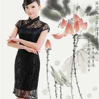 Black lace one-piece dress summer fashion female skirt vintage women's summer dress summer twinset