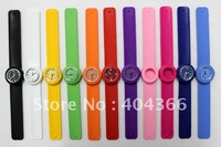 100pcs/lot children slap watches jelly silicone kids watch color 12numerals face with logo quartz watches