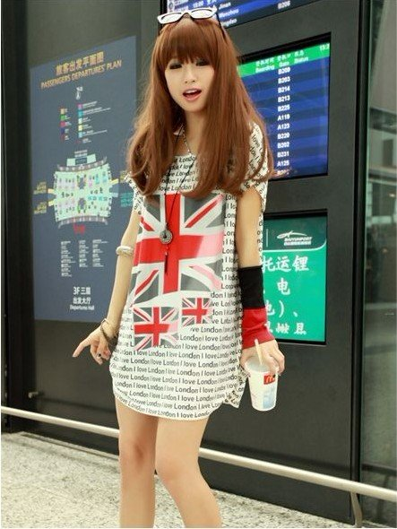 Wholesale 10pcs  London Olympic  Women UK Flag Batwing Sleeve Loose And Comfortable T Shirts 100% Cotton Batwing Coat