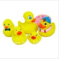 Trialsale 1set Bath toy Rubber duck sets PVC duck Bath Toys for children water games 6pcs/Set Free shipping