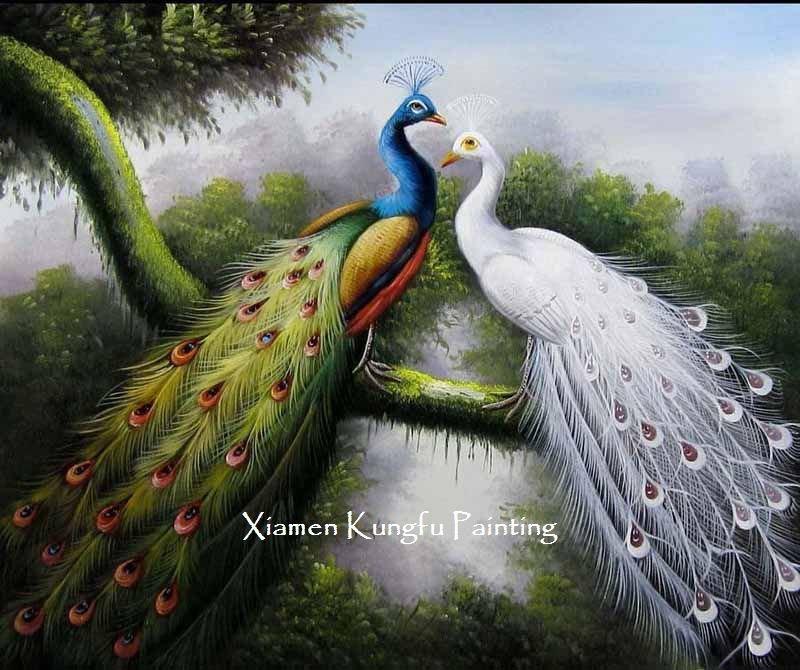 alta qualidade handpainted do repouso da decoração da lona de arte da parede da pintura do pavão de 100%