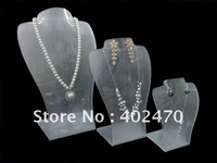 Wholesale Free Shipping Set Of 3 Frost Acrylic Necklace Earring Pendant  Jewelry Display Stand Holder Showcase