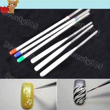 Tiny Acrylic Nail Art Set Drawing Pen Nail Brush Kit Painting Tools 3 + 3 Per 4054