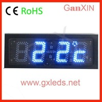 time date temperature black steel frame clock