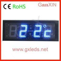 time date temperature black steel frame clock