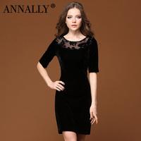 2012 elegant noble women's slim three quarter sleeve one-piece dress