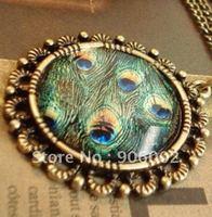 wholesale 12pcs/lot slide  gems bronze peacock feather  pendant neaklace p754206