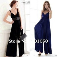 2012 summer Euramerican elastic V-neck jumpsuit black/blue one size 1pcs
