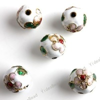 Wholesale - 50pcs Hot White Carve Flower Filligree  Beads Cloisonne Charms Beads Fit Diy Bead 12mm 110820