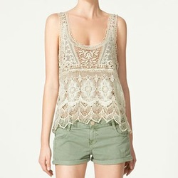 VINTAGE STYLE U-NECK CROCHET TOP 2764(China (Mainland))