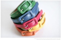 OMH wholesale  New Fashion Women's Cute Nice Candy color PU leather Thin Belt  PD02