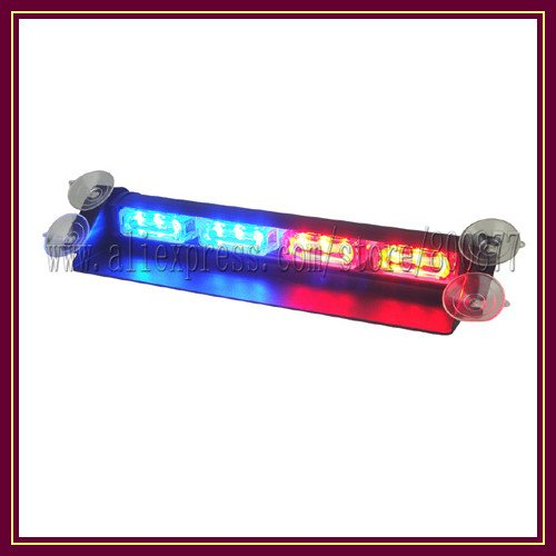 Free shipping! VS-718-4 LED dash light, 12pcs High Intensity LEDs, 15 flash pattern, easy install with suction cups, DC12V(China (Mainland))