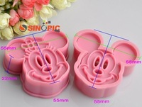 New product!2 pcs/set,Cookie cutter 3D Mickey Mouse animal cake mold, Vegetable mould, cake cutter, baking mould DIY