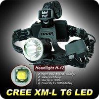 1 PC H-12 1200 Lumens CREE XML T6 LED Headlamp 3 Mode Aluminum Waterproof Hiking HeadLight free Shipping