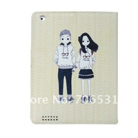 For iPad 3 Stand Leather Case, 20Pcs/Lot, Beautiful Girl And Handsome Boy Printed, Different Colors Available