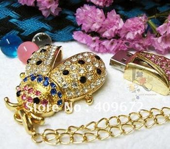 retail genuine 2G/4G/8G/16G/32G flash drive pen drive usb flash drive jewelry beatles metal diamond Free shipping+Drop shipping